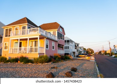 BEACH HAVEN, LONG BEACH ISLAND, NEW JERSEY - JULY 1, 2019: Beach houses at sunset on the popular vacation destination of Long Beach Island.