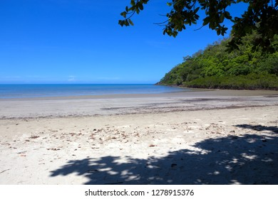 Beach and headland at Cape Tribulation in The Daintree rain forest, Tropical North Queensland, Australia