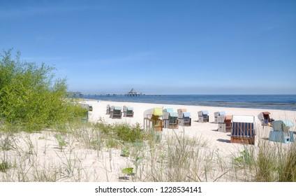 Beach of Heringsdorf on Usedom at baltic Sea,Mecklenburg western Pomerania,Germany