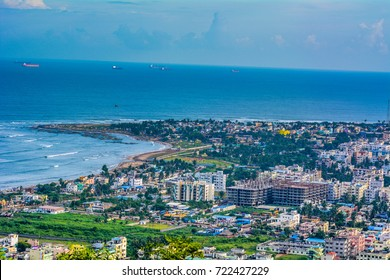 beach hill view vizag city sea blue sea buildings visakhapatnam andhra pradesh