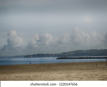 Beach in Hondarribia Touristic Village in Basque Country Spain