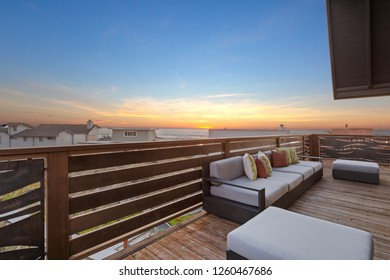 Beach House Deck With Ocean Views at Sunset