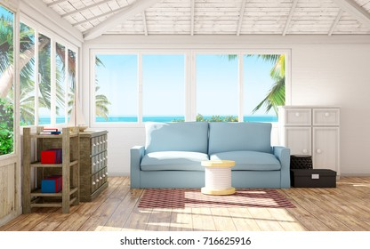 beach house interior with palm and sea at window. 3d illustration