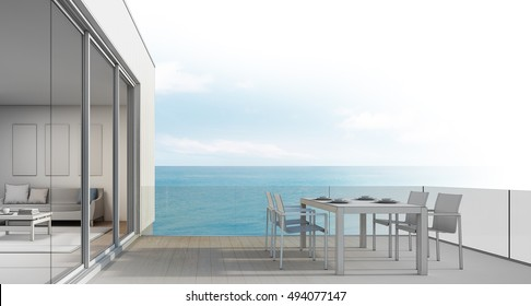 Beach house sketch design, Outdoor dining with sea view - 3d rendering
