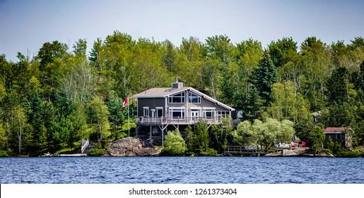Beach house at Sudbury, Ontario, Canada. dream house on the beach. best background wallpaper