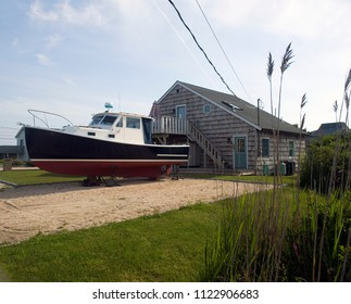 beach house with vintage boat Ditch Plains Montauk New York The Hamptons