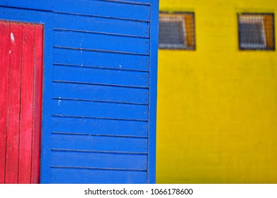 Beach Houses. The colorful huts on Fish Hoek beach, Cape Town, South Africa