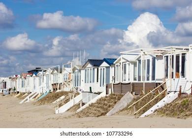 Beach houses at the Dutch coastline in Zandvoort, The Netherlands