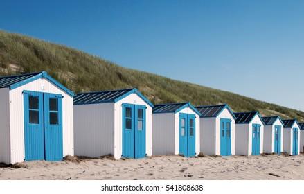 Beach houses at dutch dunes