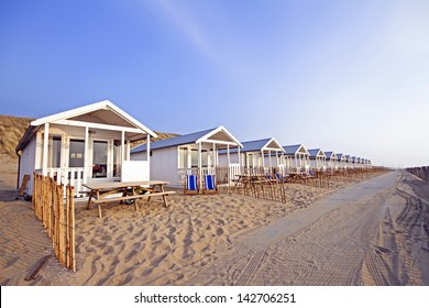 Beach houses at the north sea coast in the Netherlands