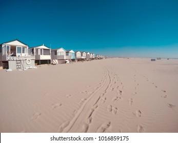 Beach houses on the beach.Photo of minimalist environment