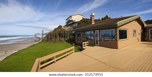 Beach houses panorama Lincoln City Oregon.