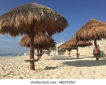 Beach hut along the beachshore. Located at the hotel zone in Cancun, Mexico