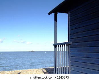 Beach hut by the sea in the UK