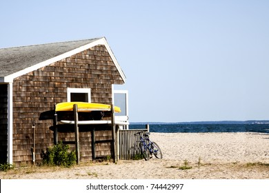 The beach hut at Orient beach state park.