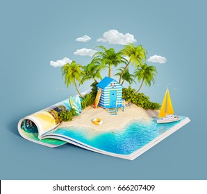 Beach hut at tropical jungle on a sand beach of beautiful island on opened pages of magazine in summer day. Unusual 3d illustration. Travel and vacation concept