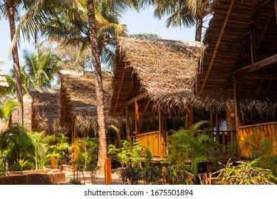 Beach huts and cottages made from bamboo,clay tiles and coconut leaves. Holiday destination concept images in Goa, India. Scenic Vacation and nature images for travel