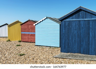 Beach huts at Hayling Island, Sussex, UK.