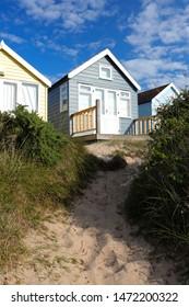 Beach huts at Hengistbury Head, South Bourne, South Coast Bournemouth
