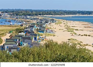 Beach Huts at Hengistbury on a fine Summer's day, Dorset, England, UK.