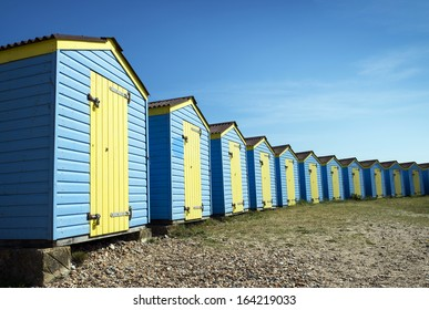 Beach Huts at Littlehampton, Sussex, UK.