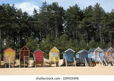 Beach huts on Holkham sands, North Norfolk