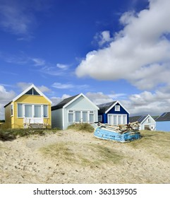 Beach huts on a summer afternoon