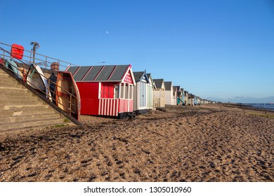 Beach huts on Thorpe Bay beach, near Southend-on-Sea, Essex, England