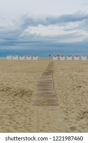 Beach huts in Oostduinkerke West Flanders Belgium
