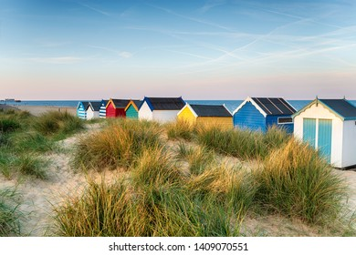 Beach huts in the sand dunes at Southwold on the Suffolk coastline