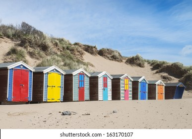 Beach Huts at Saunton Sands, Sussex, UK.