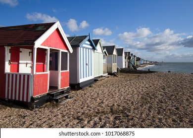 Beach huts at Thorpe Bay, near Southend-on-Sea, Essex, England