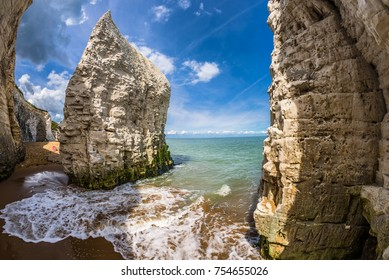 The beach and iconic cliffs at Botany Bay, near Margate and Broadstairs, Thanet District, East Kent, about 80 miles from London, England.