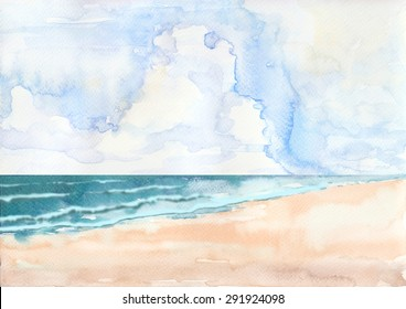 Beach  image is original work that drew from imaginations by watercolor.