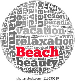 Beach info-text graphics and arrangement concept on white background (word cloud)