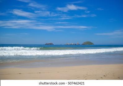 Beach in Ixtapa. Pacific ocean. Mexico