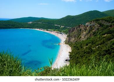 Beach Jaz Adriatic Sea. Top view from mountain