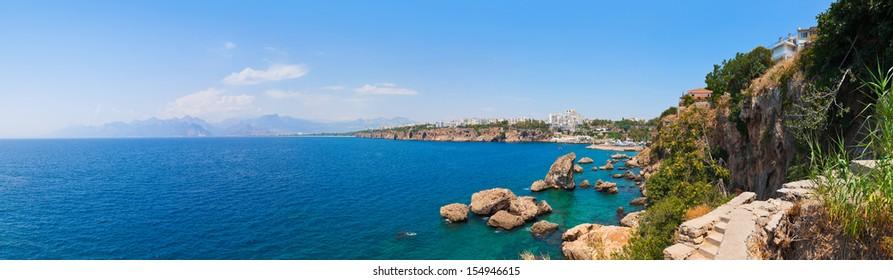 Beach at Kaleici in Antalya, Turkey - travel background