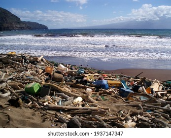 The beach at Kanapou Bay collects debris from throughout the Pacific Ocean.