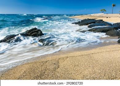 The beach at Kekaha Kai just north of Kailua-Kona, Hawaii.