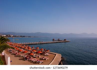 Beach in Kusadasi Turkey. Aegean sea.
