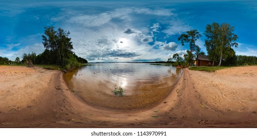 Beach at the lake with blue sky. Beautiful background. 3D spherical panorama with 360 degree viewing angle. Ready for virtual reality in vr. Full equirectangular projection.