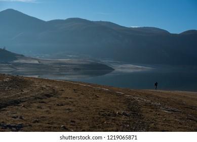 beach lake and mountains