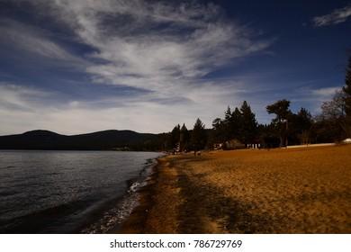 Beach of lake tahoe of california