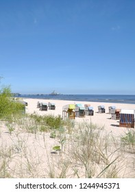 Beach and Landing Stage of Heringsdorf on Usedom at baltic Sea,Mecklenburg western Pomerania,Germany