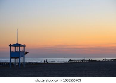 Beach landscape at dawn. Jesolo beach view, Italian panorama