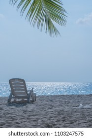 beach landscape of Maldives Island with chair on a sunny day