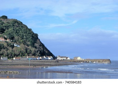 A beach landscape of Minehead, Somerset in February at low tide.