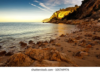 Beach landscape in the National park of Arrabida.