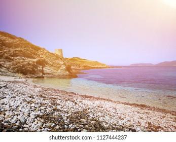 beach landscape on Sardinia coast at sunset